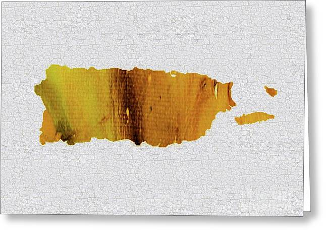 Colorful Art Puerto Rico Map Yellow Brown Greeting Card by Saribelle Rodriguez