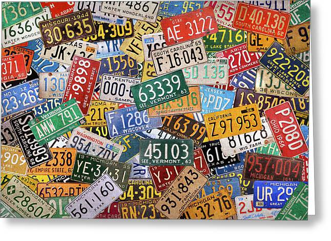 Colorful Assorted Vintage License Plates From All 50 States Greeting Card by Design Turnpike