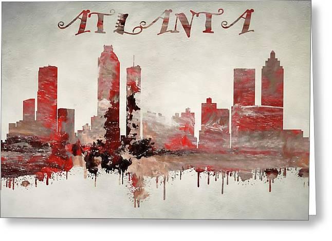 Colorful Atlanta Georgia Skyline Greeting Card by Dan Sproul