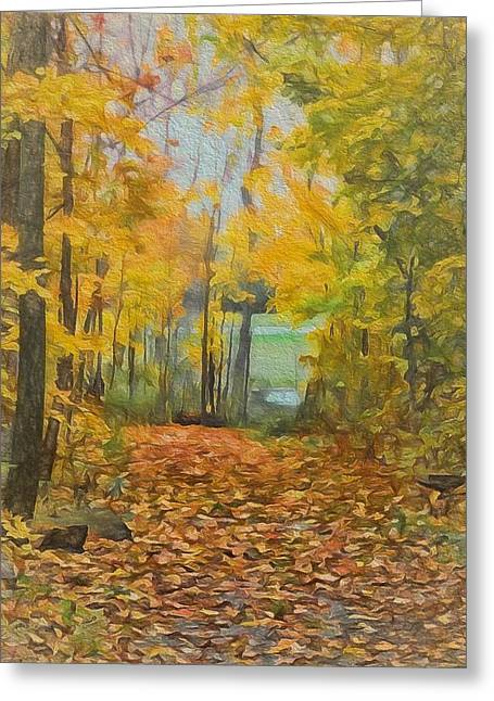 Colorful Autumn Trail Greeting Card