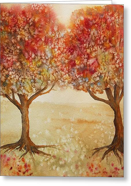 Colorful Autumn Twin Trees Greeting Card by Kerri Ligatich