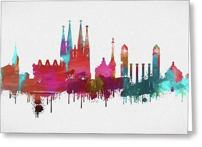 Colorful Barcelona Skyline Silhouette Greeting Card