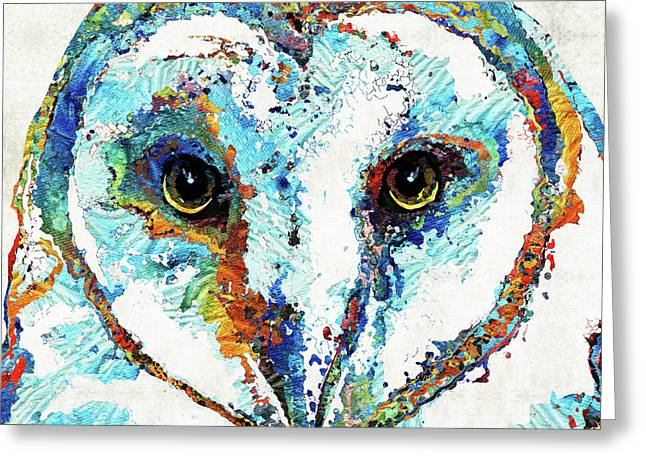 Colorful Barn Owl Art - Sharon Cummings Greeting Card by Sharon Cummings