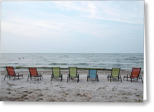 Greeting Card featuring the photograph Colorful Beach Chairs by Ann Bridges