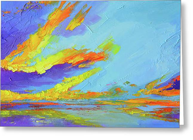 Greeting Card featuring the painting Colorful Beach Sunset Oil Painting  by Patricia Awapara