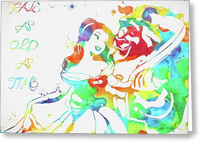 Colorful Beauty And Beast Greeting Card