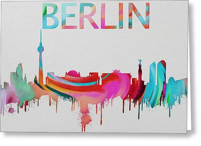 Colorful Berlin Skyline Silhouette Greeting Card