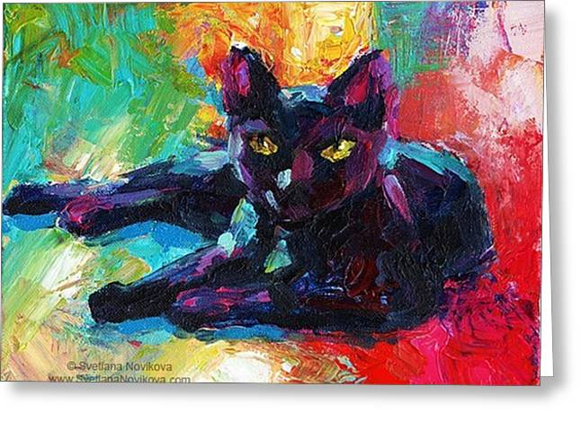 Colorful Black Cat Painting By Svetlana Greeting Card