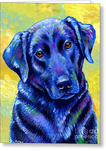 Colorful Black Labrador Retriever Dog Greeting Card
