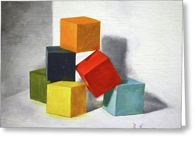 Colorful Blocks Greeting Card by Roena King
