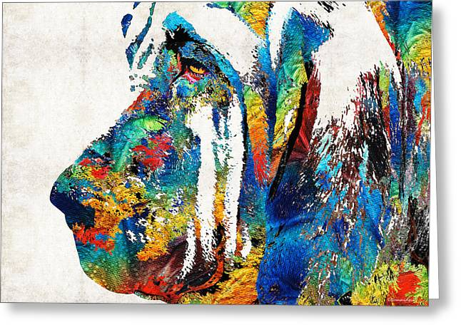 Colorful Bloodhound Dog Art By Sharon Cummings Greeting Card