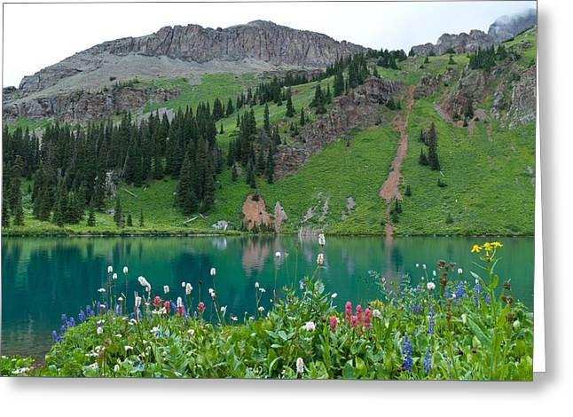 Greeting Card featuring the photograph Colorful Blue Lakes Landscape by Cascade Colors