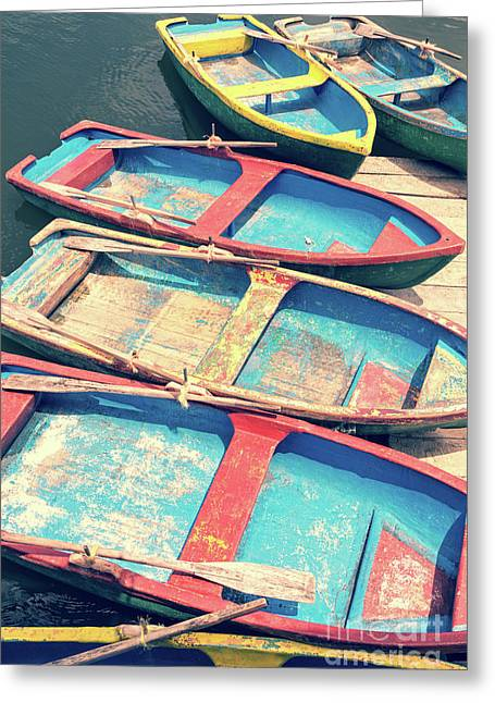 Colorful Boats Greeting Card by Delphimages Photo Creations