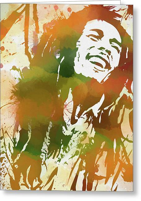 Colorful Bob Marley Greeting Card by Dan Sproul