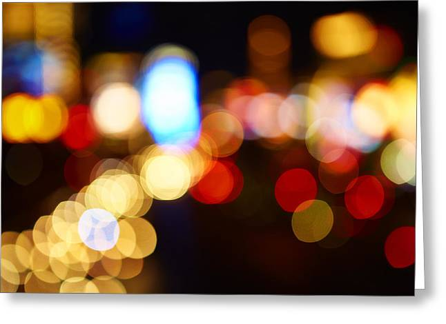 Colorful Bokeh Lights In The City - F Greeting Card