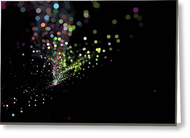Colorful Bokeh Particles Background Greeting Card by StarLineArts