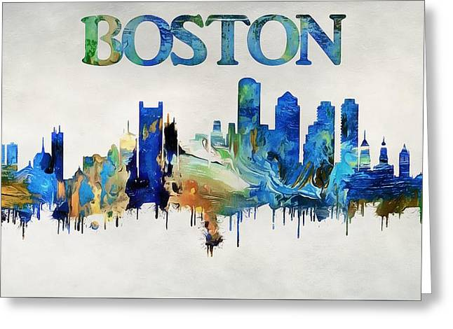 Colorful Boston Skyline Greeting Card by Dan Sproul