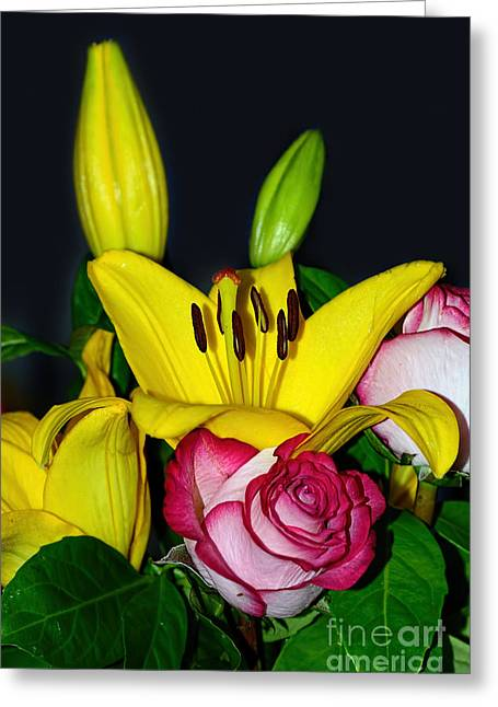 Colorful Bouquet By Kaye Menner Greeting Card