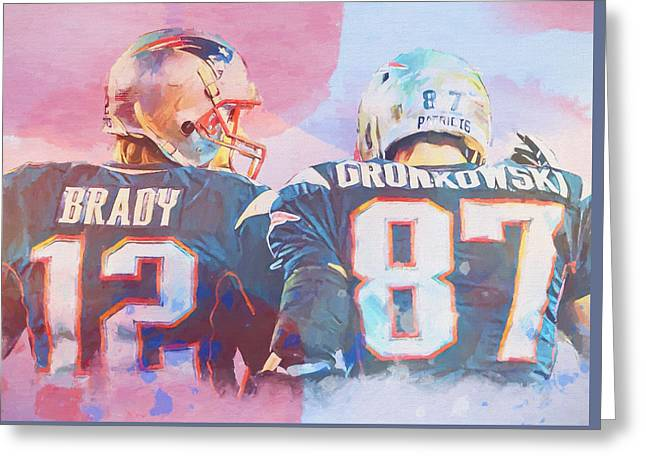 Colorful Brady And Gronkowski Greeting Card