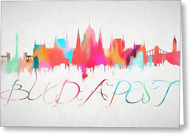 Colorful Budapest Skyline Greeting Card