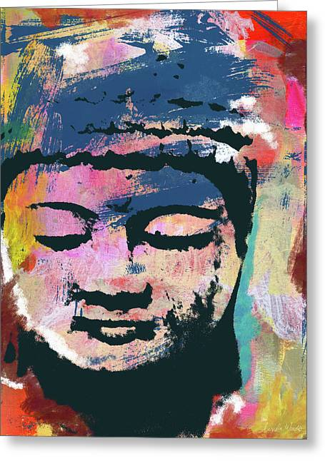 Colorful Buddha 1- Art By Linda Woods Greeting Card