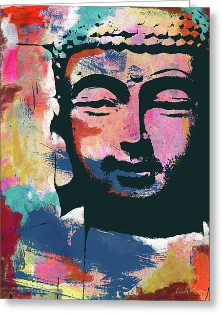 Colorful Buddha 2- Art By Linda Woods Greeting Card