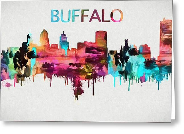 Colorful Buffalo Skyline Silhouette Greeting Card by Dan Sproul