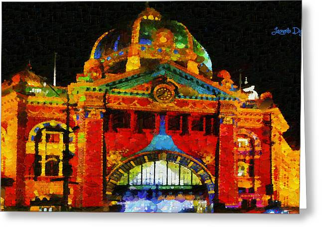 Colorful Building At Night - Pa Greeting Card