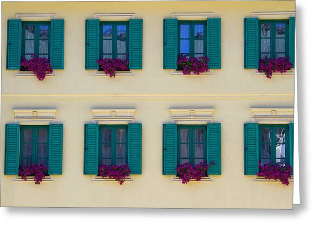 Flower Boxes Greeting Cards - Colorful Building Greeting Card by David Buffington