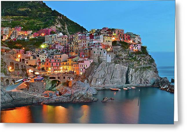 Greeting Card featuring the photograph Colorful Buildings Colorful Lights by Frozen in Time Fine Art Photography
