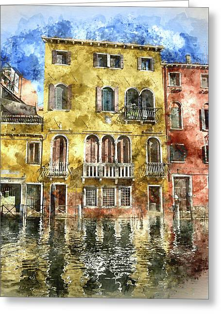Colorful Buildings In Venice Italy Greeting Card by Brandon Bourdages