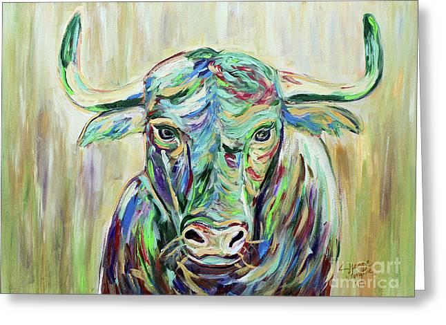 Colorful Bull Greeting Card