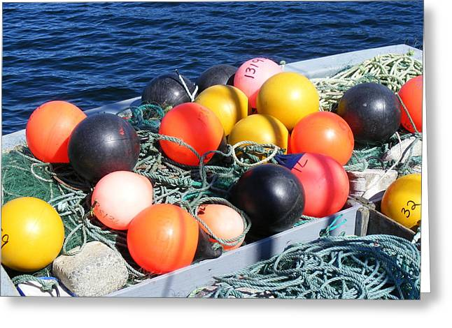Colorful Buoys Greeting Card by Barbara Griffin
