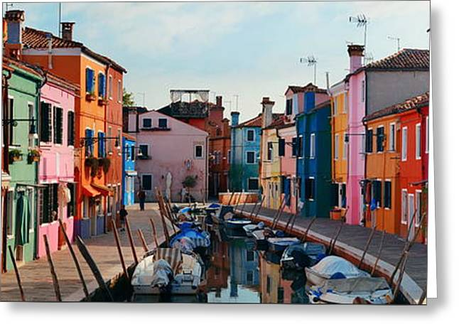 Greeting Card featuring the photograph Colorful Burano Canal Panorama View by Songquan Deng