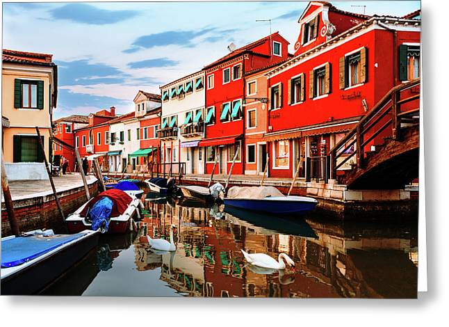 Colorful Burano Sicily Italy Greeting Card