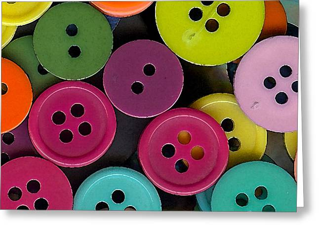 Colorful Buttons Greeting Card by Bonnie Bruno
