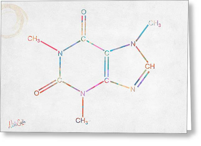 Colorful Caffeine Molecular Structure Greeting Card
