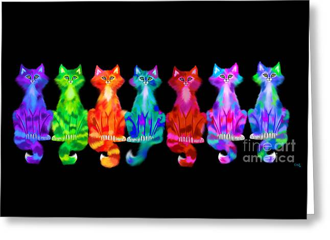 Colorful Calico Cats Greeting Card
