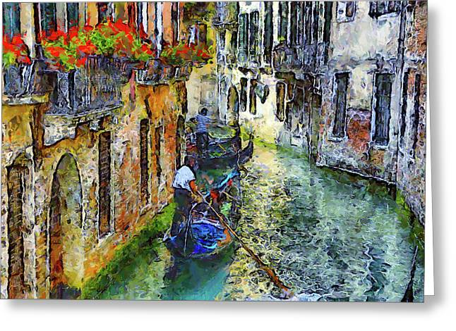 Colorful Canal In Venice Greeting Card by Georgiana Romanovna