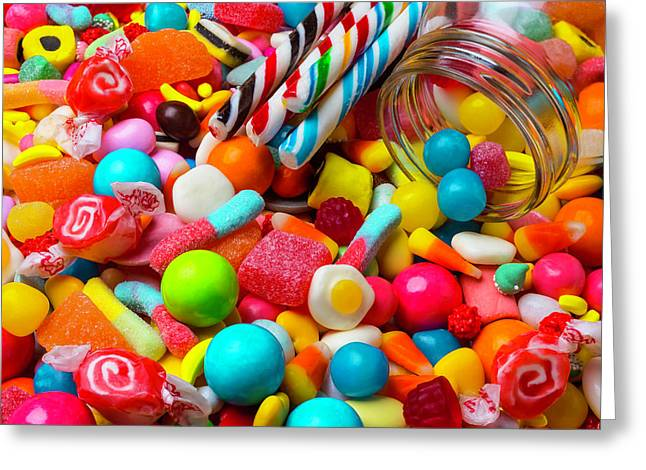 Colorful Candy Pile Greeting Card by Garry Gay