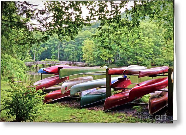 Colorful Canoes At Hungry Mother State Park Greeting Card