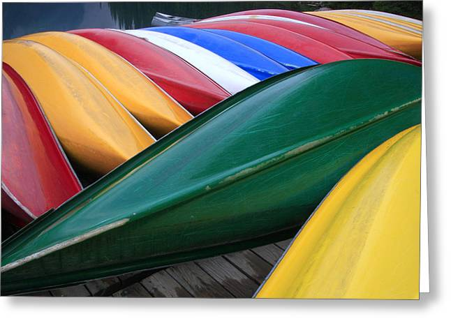 Colorful Canoes Greeting Card