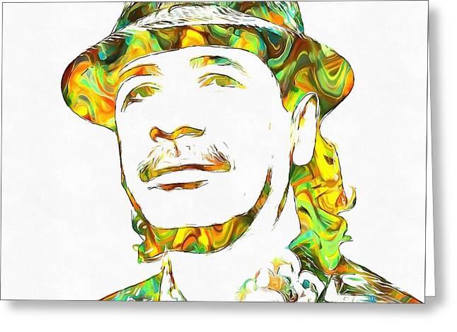 Colorful Carlos Santana Greeting Card by Dan Sproul