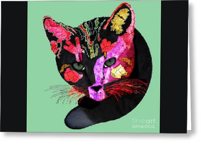 Colorful Cat Abstract Artwork By Claudia Ellis Greeting Card