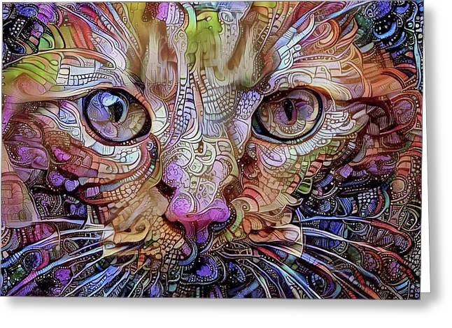 Colorful Cat Art Greeting Card