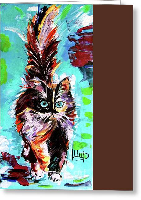 Colorful Cat Greeting Card by Melanie D
