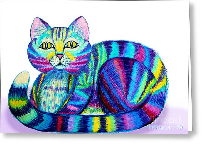 Cat Drawings Greeting Cards - Colorful Cat Greeting Card by Nick Gustafson