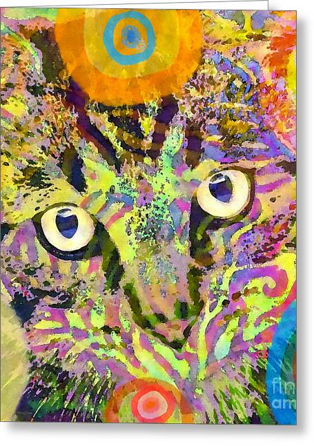 Colorful Cat Print Greeting Card by Stacey Chiew