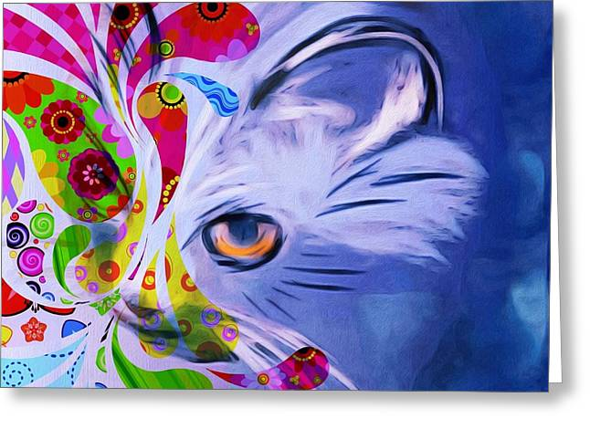 Colorful Cat World Greeting Card