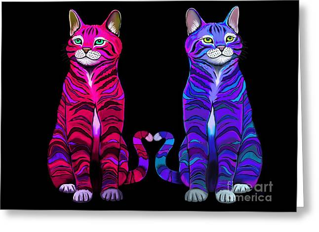 Colorful Cats Together Greeting Card by Nick Gustafson